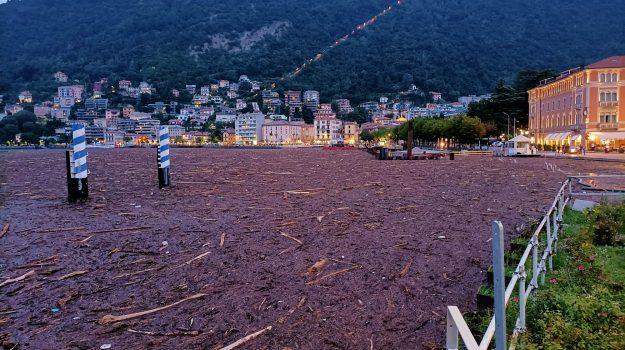 Il lago di Como trasformato in una distesa di detriti. Battelli fermi. Un disastro!