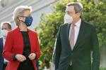 La Presidente della Commissione Ue, Ursula von der Leyen e il Premier italiano, Mario Draghi