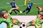 """Inter: il """"tiro combinato"""" di Lautaro e Perisic come i gemelli Derrick di Holly e Benji"""